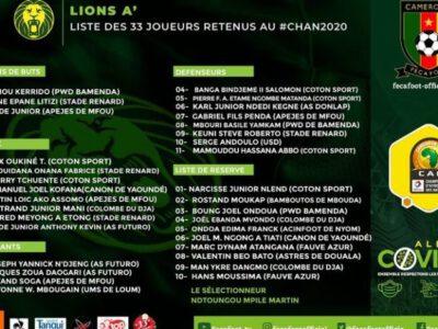 Le sélectionneur de l'équipe nationale A' vient de rendre publique la liste des joueurs retenus pour disputer la 6e édition du championnat d'Afrique des nations dont le coup d'envoi est prévu le 16 janvier prochain au stade omnisport Ahmadou Ahidjo de Yaoundé.