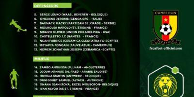 Le sélectionneur de l'équipe nationale Sénior, vient de rendre publique la liste des 25 joueurs retenus pour les cinquième et sixième journées des qualifications de la prochaine Coupe d'Afrique des nations Total Cameroun 2021